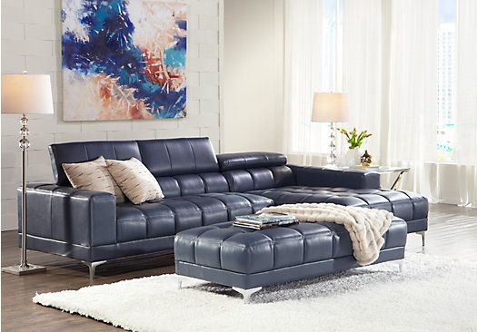 Groovy Sofia Vergara Sybella Blue 4 Pc Sectional Living Room Plus Beatyapartments Chair Design Images Beatyapartmentscom