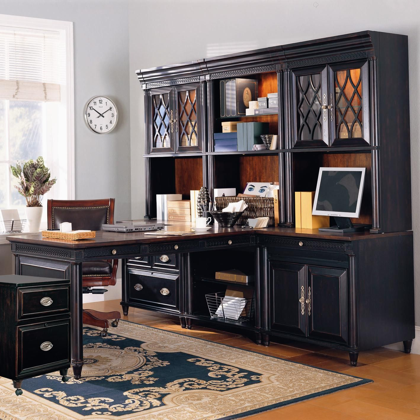 Young Classics L-Shape Office Wall Unit With Glass Door