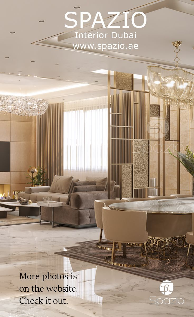 Luxury interior design for living room and dining from one of the best decoration companies in dubai visit website to get more ideas also rh ar pinterest