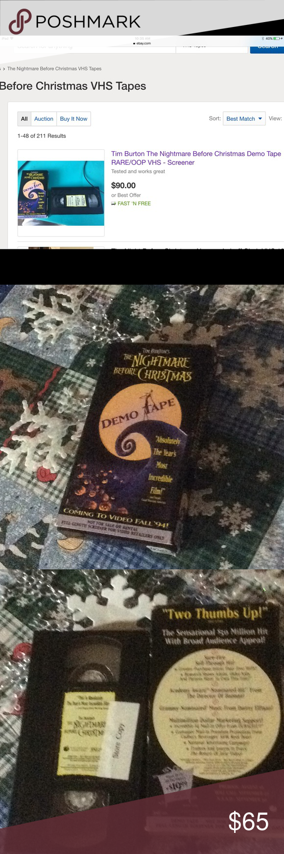 Rare The Nightmare Before Christmas VHS demo tape This is a ...