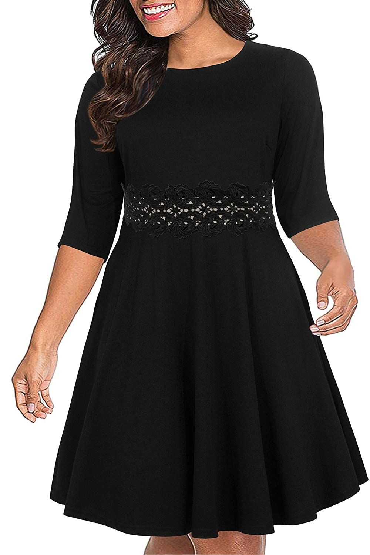 Nemidor Women S 3 4 Sleeve Embroidery Party Dress Plus Size Vintage Cocktail Swing Dress Long Sleeve Swing Dress Casual Dresses For Women Casual Party Dresses [ 1500 x 1000 Pixel ]