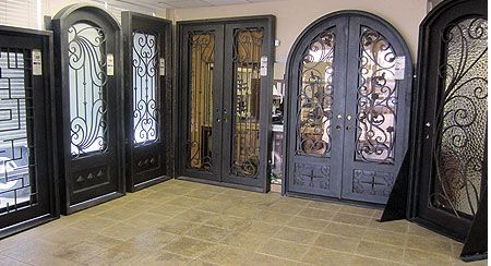 iron entry doors on display in our showroom in houston texas in