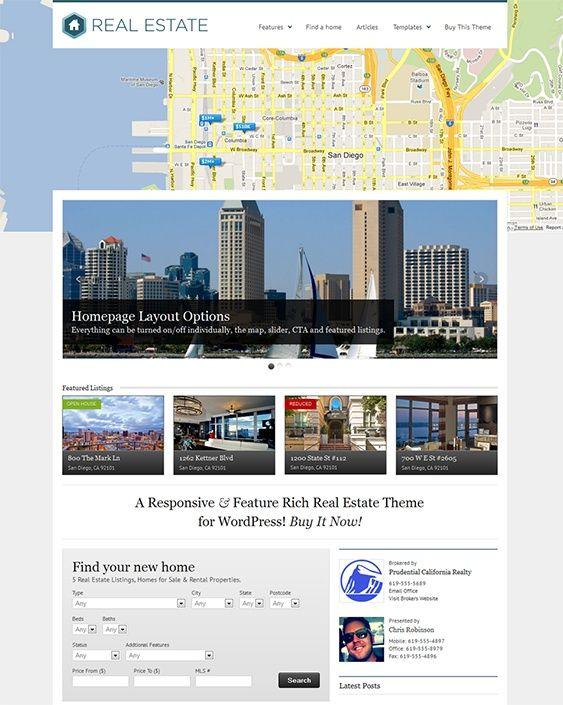 Este tema de WordPress inmobiliario tiene un diseño sensible, un ...
