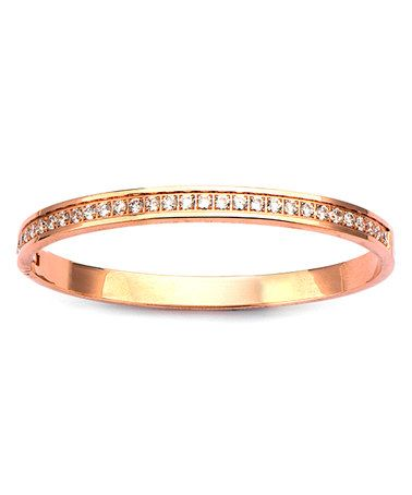 Another great find on #zulily! Cubic Zirconia & Rose Goldtone Channel-Set Hinge Bangle #zulilyfinds