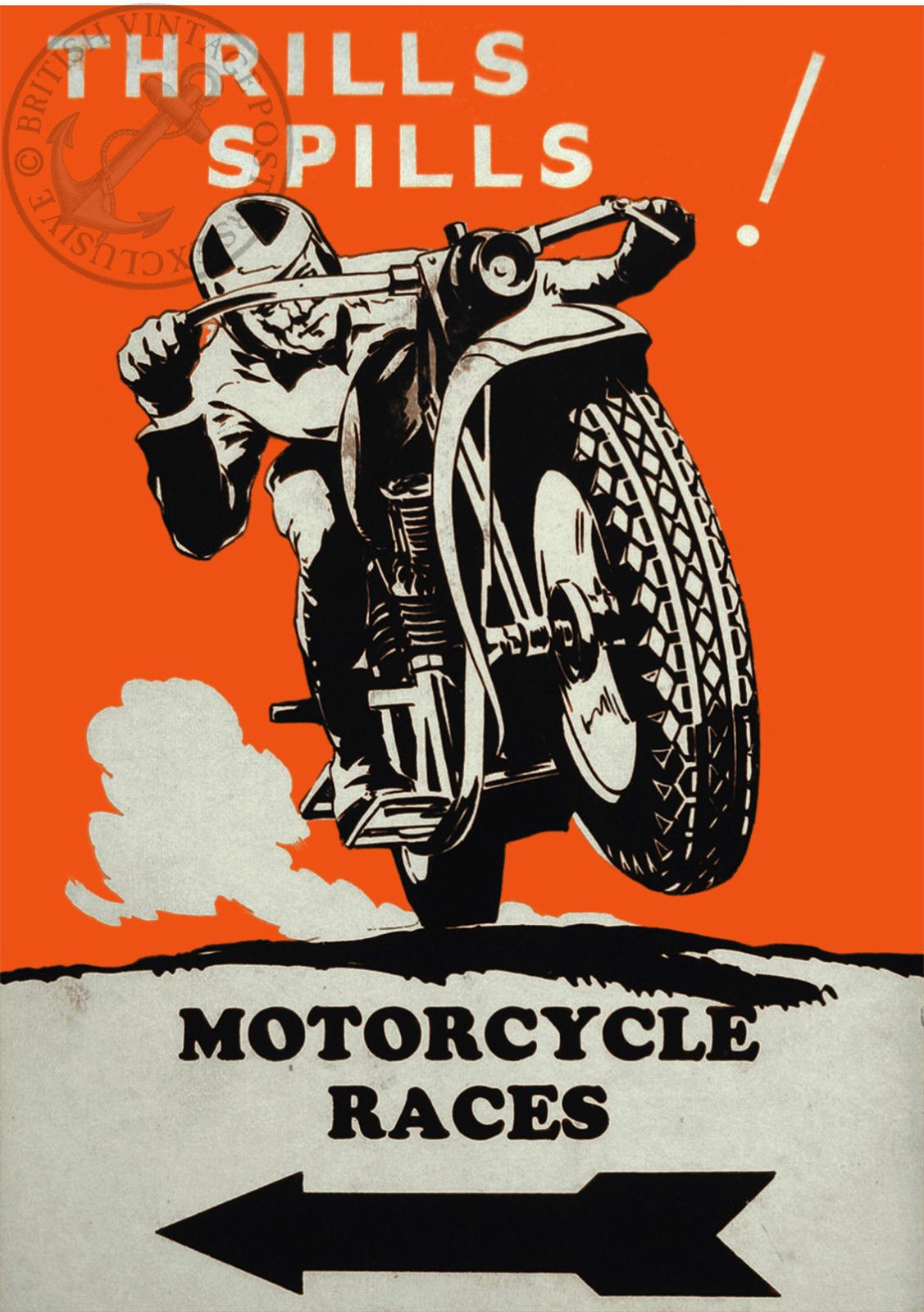 Details About Vintage Poster Motorcycle Racing Motorbike Ad Retro