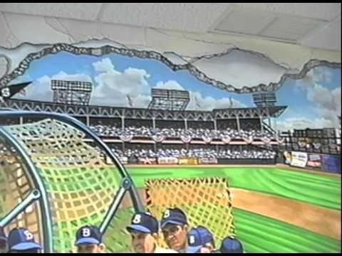 Hand Painted Wall Mural Ebbets Baseball Field By Muralist Bonnie Siracusa Wall Murals Painted Hand Painted Walls Muralist