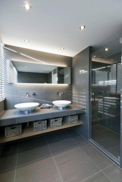 Photo of Top 60 besten grauen Badezimmer Ideen – Interior Design Inspiration – Mann Stil | Tattoo