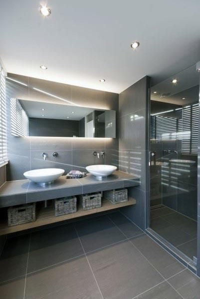 Top 60 besten grauen Badezimmer Ideen – Interior Design Inspiration - Mann Stil | Tattoo