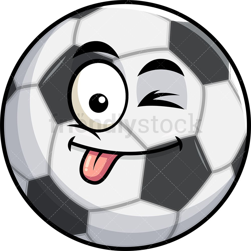 Winking Tongue Out Soccer Ball Emoji Cartoon Clipart Vector Friendlystock Soccer Ball Emoji Soccer