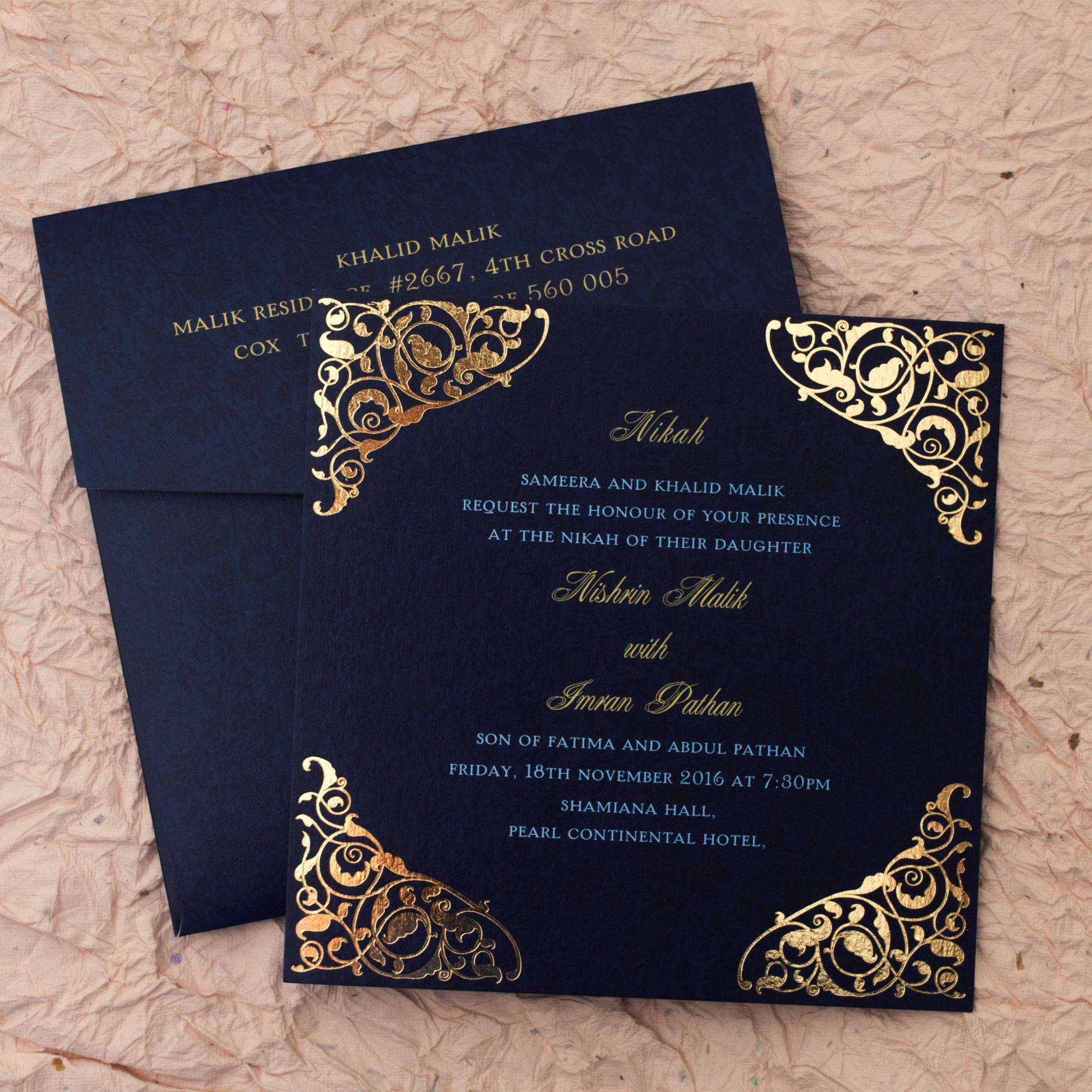 Gulshan Blue Wedding Islamic Cards Add A Touch Of Elegance To Your Nikah Wi Wedding Invitation Card Design Marriage Invitation Card Muslim Wedding Invitations