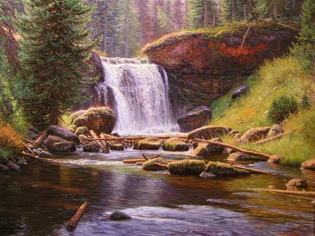Spring Waterfall Scenery Woodland Waterfall Wallpaper