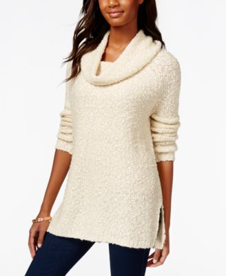 American Rag Shine Cowl-Neck Pullover Tunic Sweater, Only at ...