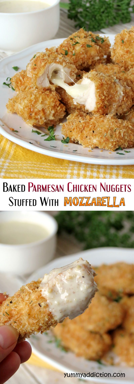 Crispy Baked Parmesan Chicken Nuggets Stuffed With Mozzarella | yummyaddiction.com