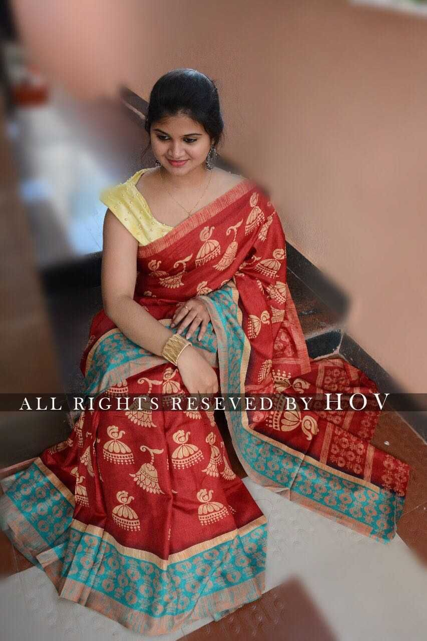 4ca010c1e9855  Beautiful Handloom Linen Chanderi Sarees With Kalamkari Prints Along WiTh  Running Blouse  Singles    Rs.850 Ready to ship Best quality ✅✅✅✅✅✅