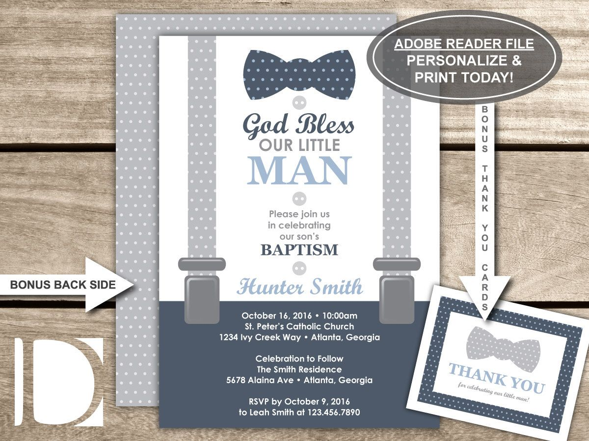 Baby Dedication Invitation In Navy Blue And Gray Baptism Little