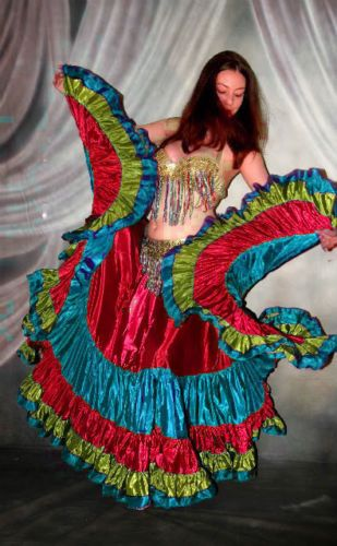 We3 Belly Dance Tribal Fusion 32Y Multicolor Gypsy Skirt Specialorder Free SHIP | eBay