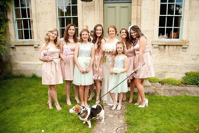 Bridesmaids in pink and dog www.capturedbykatrina.co.uk