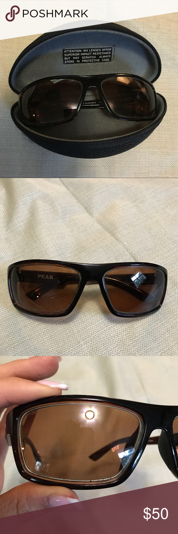 22d086b7bec Peak Polarized Amber Lens Sunglasses Wiley X WX Peak Polarized Amber Lens  Gloss Layered Tortoise Frame. In excellent condition. With original  protective ...