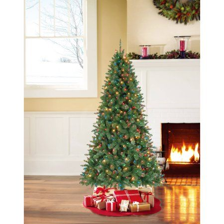 Holiday Time Pre-Lit 7\' Duncan Fir Artificial Christmas Tree ...