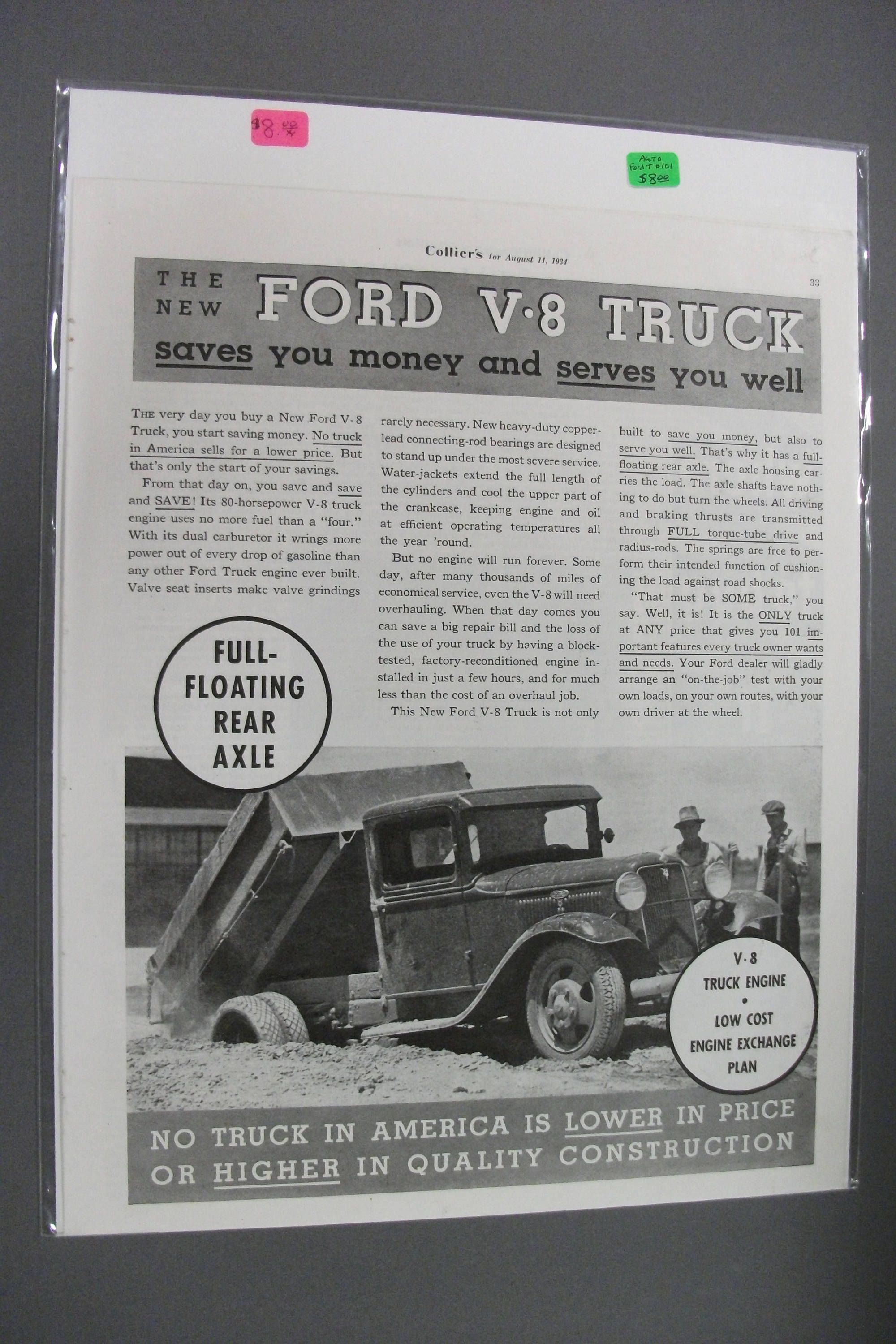 Fordt 101 Ford Magazine Ad August 1934 By Hobohillfarm On Etsy