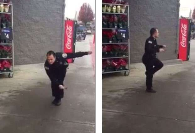 Officer Sean Bulow pictures,danced while assisting the Salvation Army