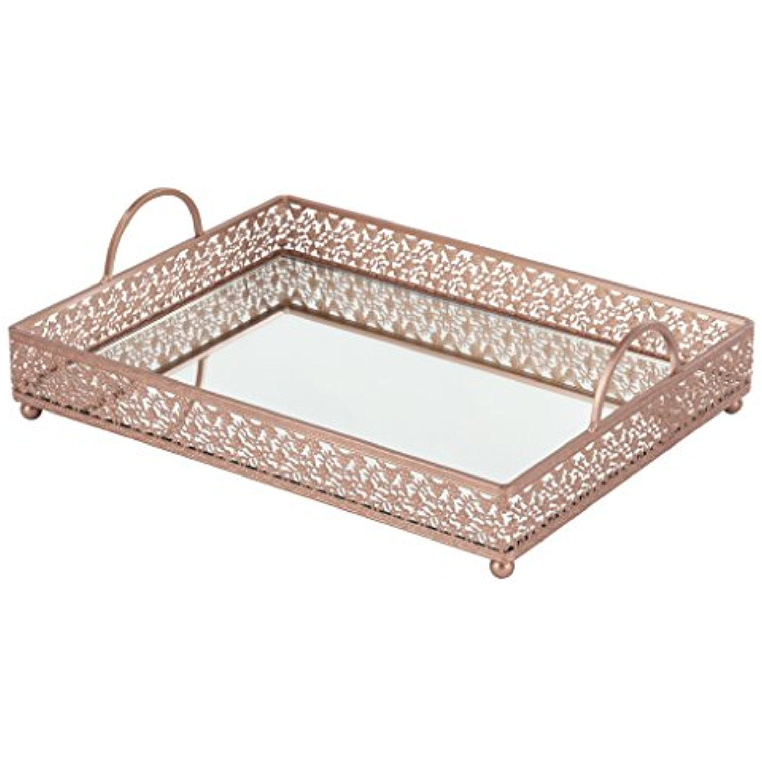 Giovanni rose gold mirror top serving tray rectangular metal ornate