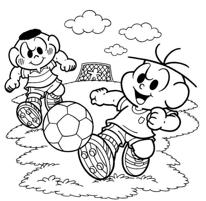 Cebolinha E Cascao Jogando Futebol Monica Para Colorir Desenhos