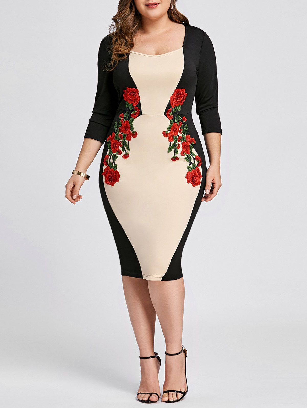 1526b13f12a Plus Size XL-5XL Women Dress Color Block Embroidered Bodycon Evening Party  Dress