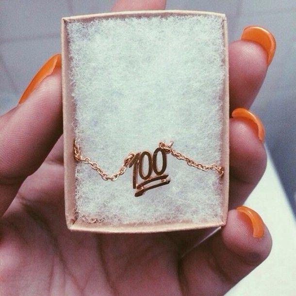 Jewels gold 100 emoji print necklace iphone case tumblr 100