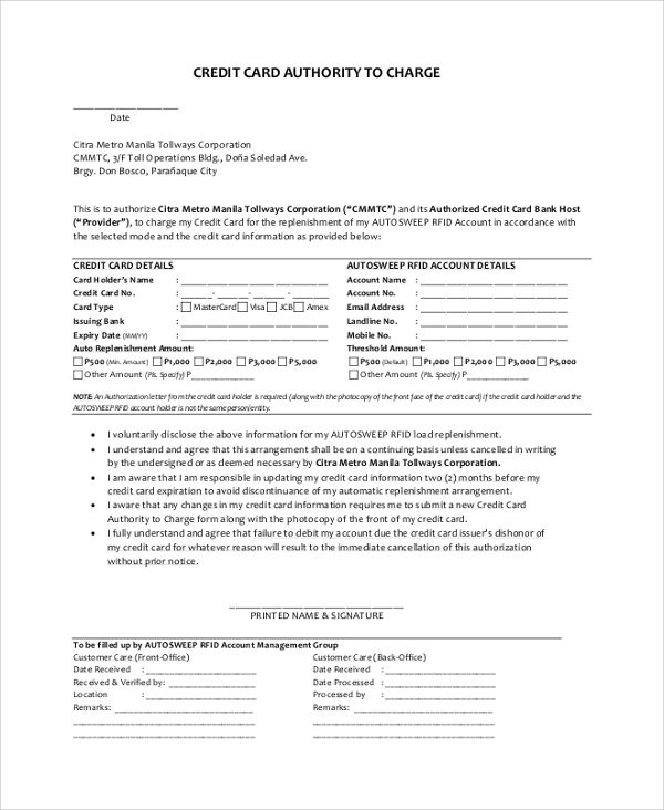 Sample Credit Card Authorization Letter Documents Pdf Word Examples