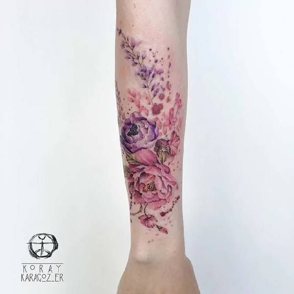 Watercolor Flowers Flower Vine Bicep Arm Tattoo Ideas For Women
