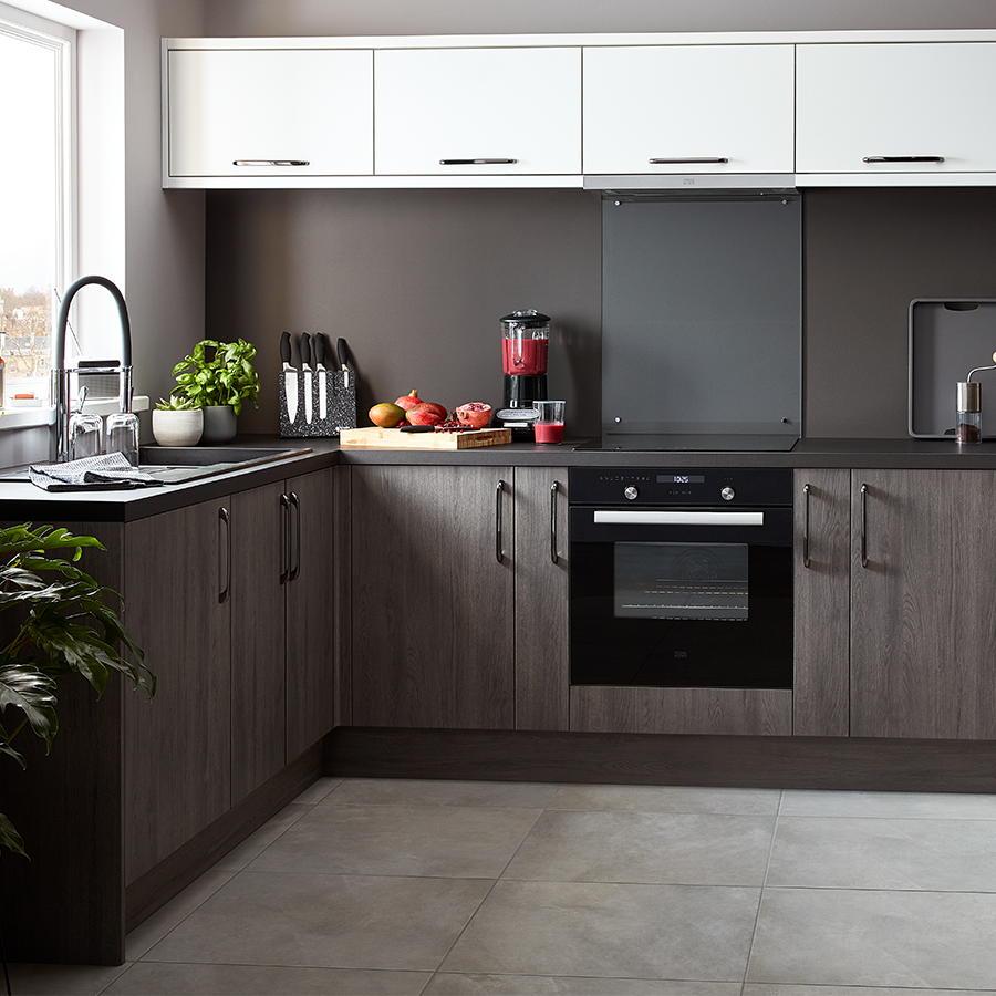 Chia Grey Oak Effect Slab Kitchen Kitchen Fittings Kitchen Cabinets Ikea Kitchen Storage Cabinets