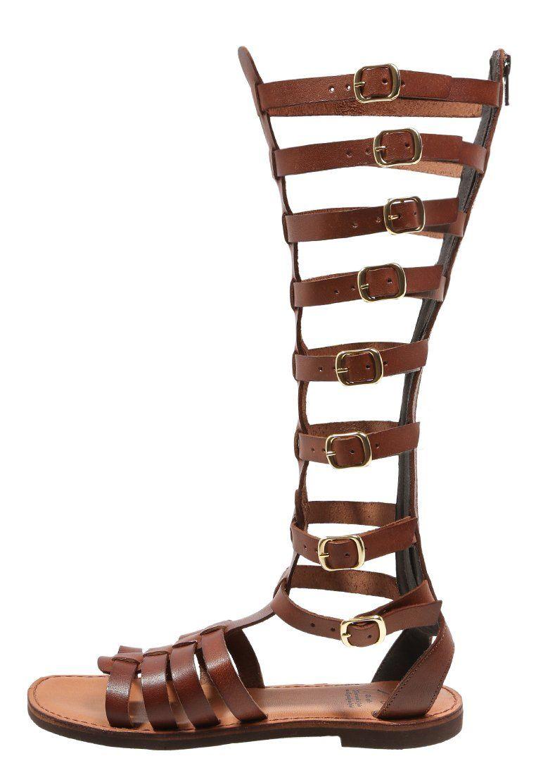 Galia sandaal met schacht brandy kmb