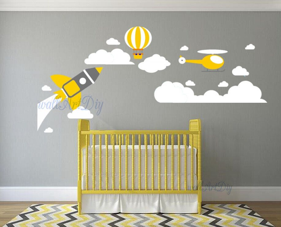 Plane Wall Decals Nursery Wall Decals Hot Balloon Wall Decals - Nursery wall decals clouds