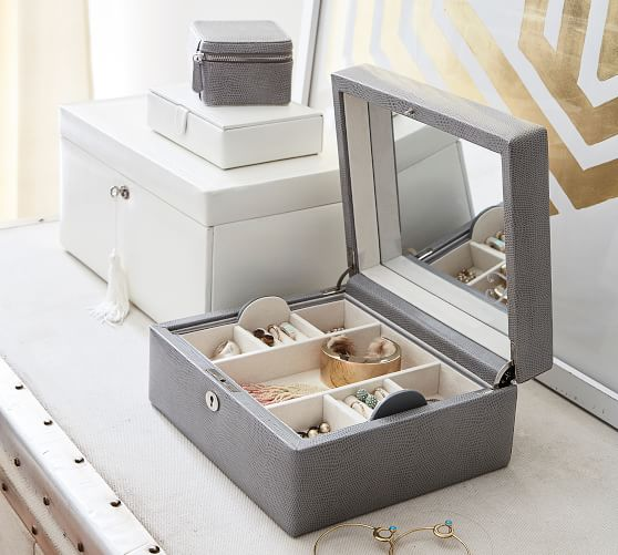 Palace Ii White Wash Bonded Leather Sleigh Bedroom Set: Personalized Mckenna Leather Medium Jewelry Box