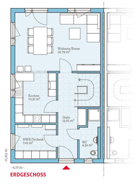 GrundrissEG, Fertighaus Doppelhaus 45119, 63,32 m²