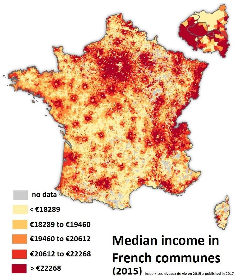 Median Income In French Communes 2015 French Commune Communes