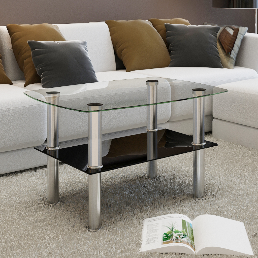 Black Glass Coffee Table 2 Tiers Lovdock Com Modern Furniture Living Room Coffee Table Black Contemporary Living Room