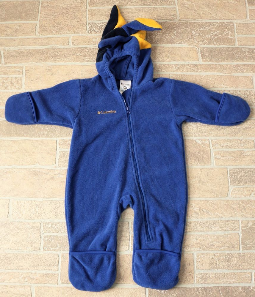 019656865 Columbia Blue Fleece Zip Front Bunting Snowsuit Jester Hood Baby ...