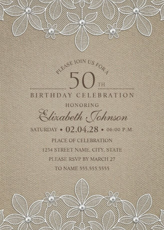 Rustic Burlap 50th Birthday Invitations - Lace and Pearls Party ...
