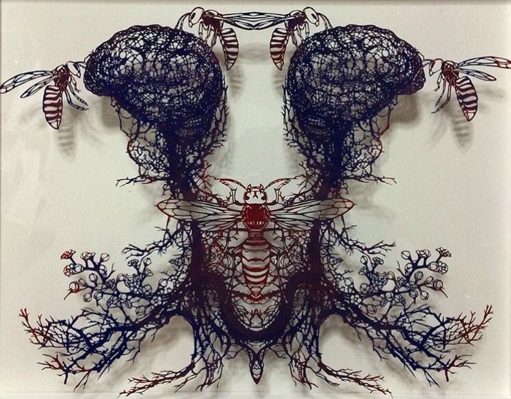 Ayamorita Wasp Brain cut paper
