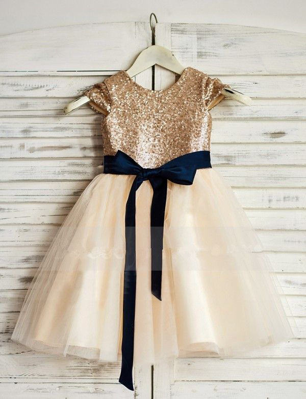 51f2beb75 Sequin Bodice Flower Girl Dress With Navy Sash | Dresses | Gold ...
