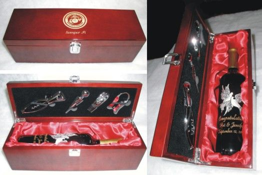 Matte Finish Wooden Wine Box With Silver Metal Clasp With 4 Wine
