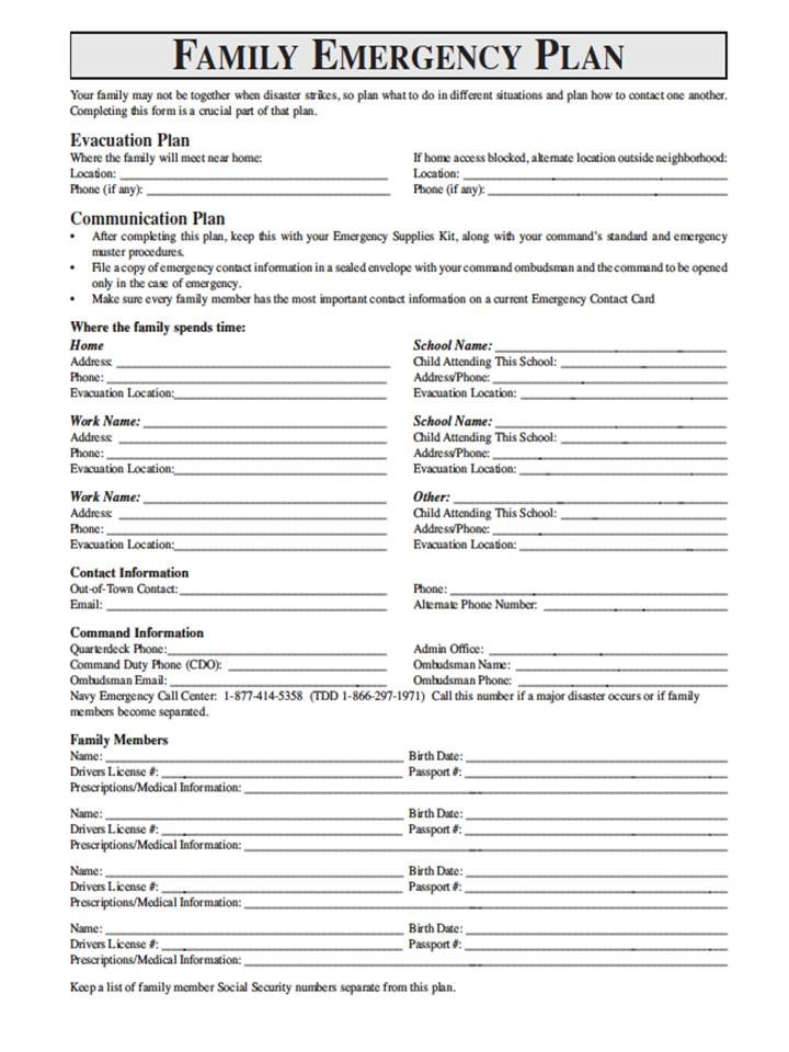 Family Emergency Plan  Printable Documents For Your Emergency
