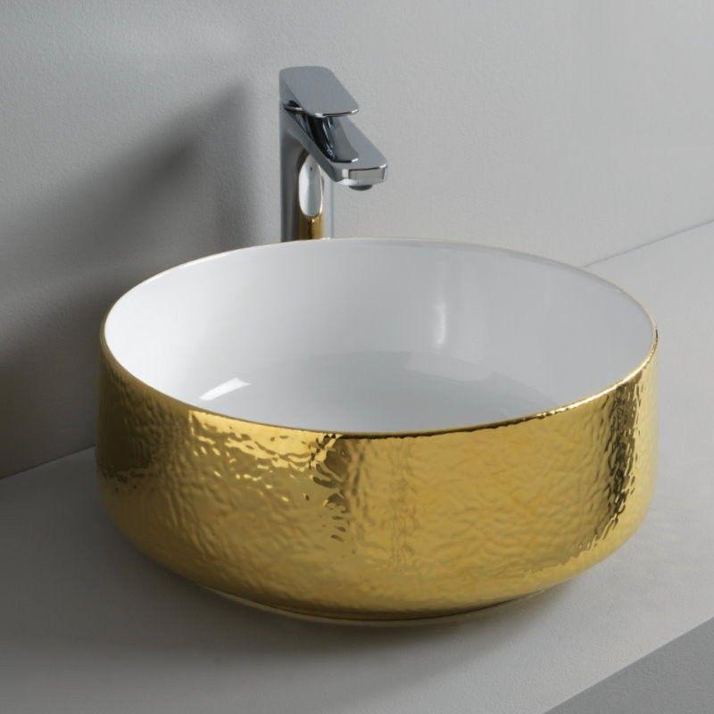 Art Ceram Aufsatzwaschschale Cognac 42 Gold Struktur