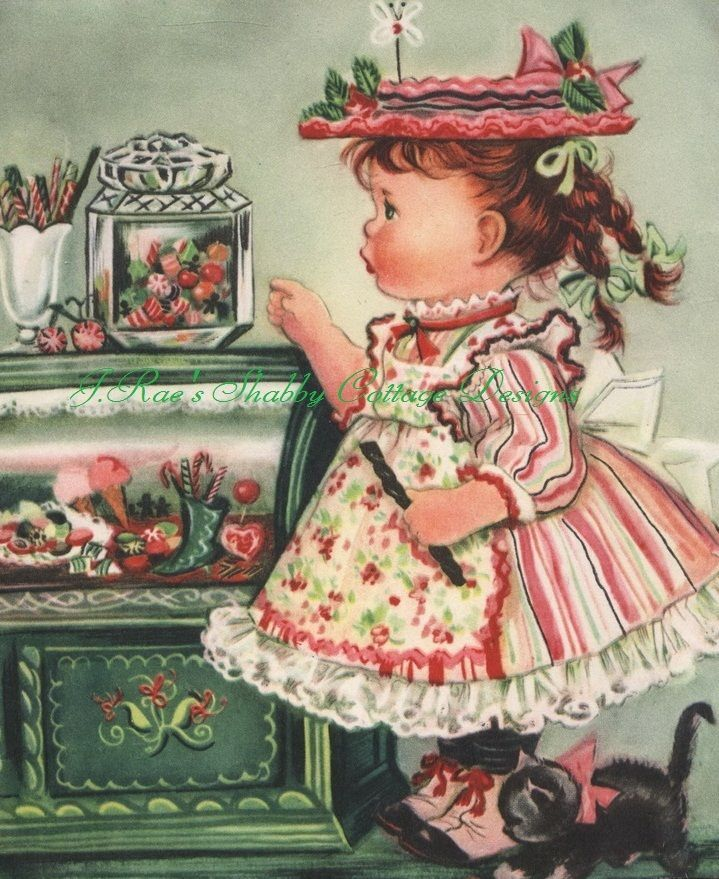 8x10 Fabric Block Sweet Charlotte Byj Little Girl Vintage Print Repro