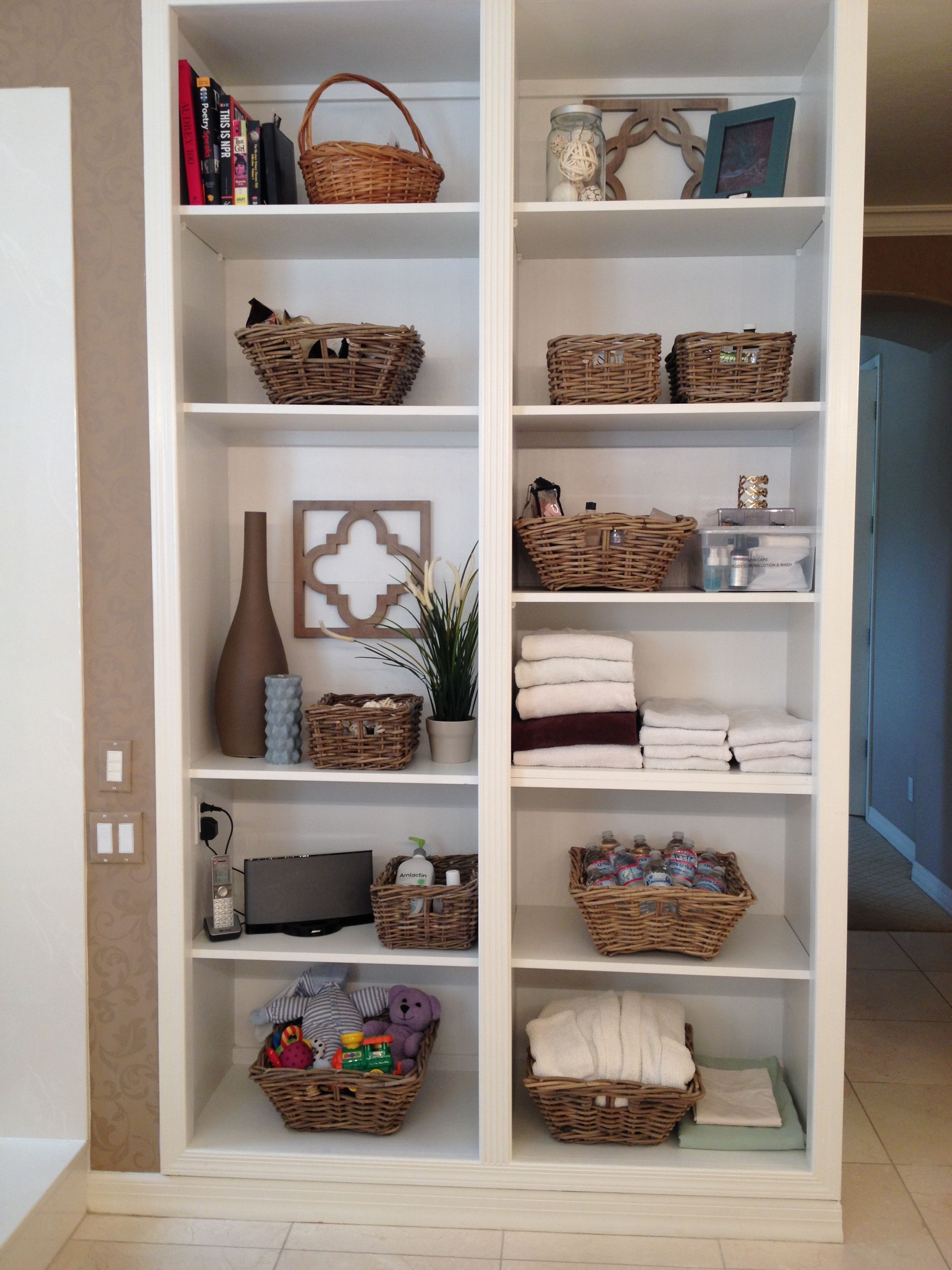 Organizing Open Shelving In The Bathroom