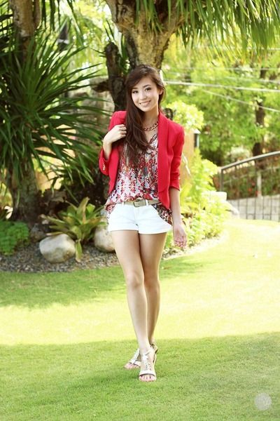 Island Girl Candy Mac Velvet Teddy Dupe: Red Mango Blazer - White Island Girl Sandals