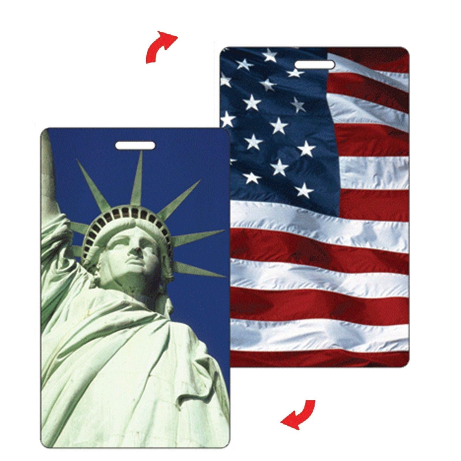Lenticular Standard Luggage Tag with Clear Plastic Loop, Flip Statue ...