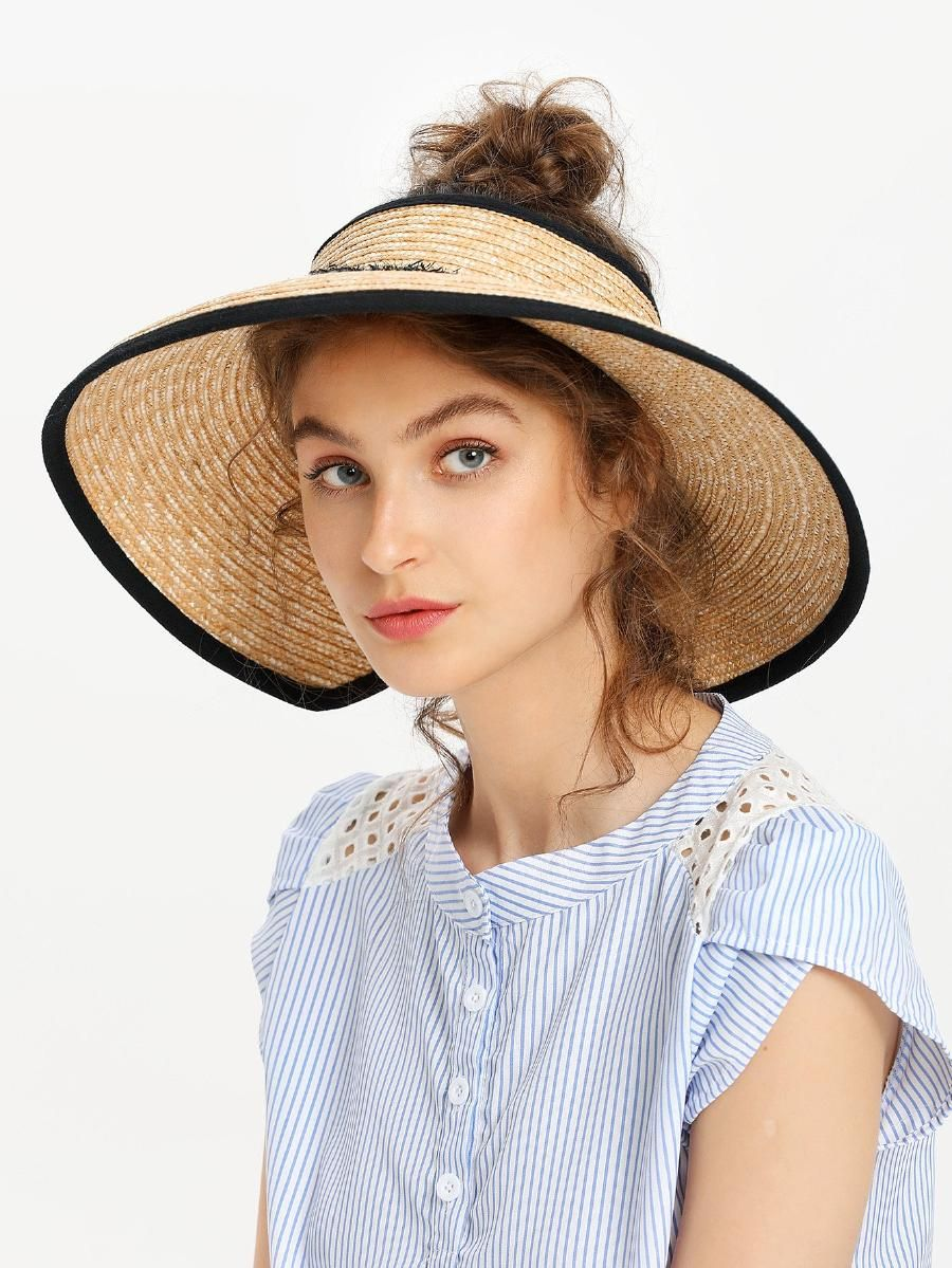Roll Up Straw Visor Hat Shein Sheinside Straw Visor Hat Straw Visor Hat Fashion Women